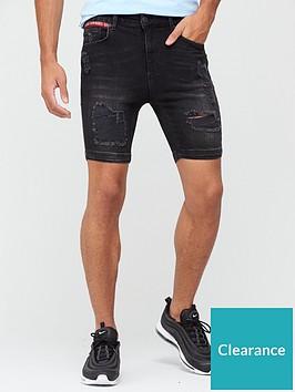 11-degrees-rip-and-repair-skinny-denim-shorts-washed-black