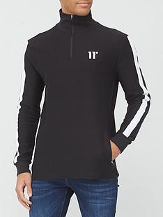 11-degrees-nitro-textured-funnel-neck-quarter-zip-sweatshirt-black
