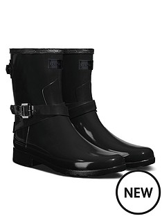 hunter-refined-back-short-welly-boots-black