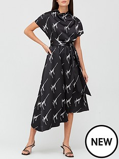 hugo-kinori-printed-logo-midi-dress-monochrome
