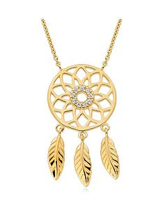 beaverbrooks-silver-18ct-gold-plated-cubic-zirconia-dream-catcher-necklace