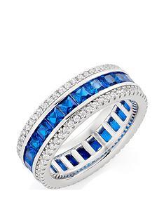 beaverbrooks-silver-cubic-zirconia-blue-triple-row-ring