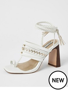 river-island-toe-loop-plaited-lace-up-sandal-white
