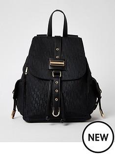 river-island-lock-front-jacquard-backpack-black