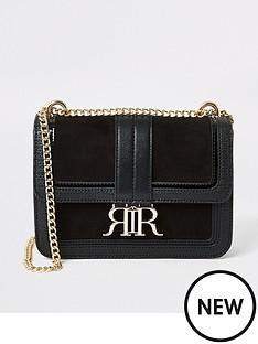 river-island-faux-suede-underarm-satchel-bag-black