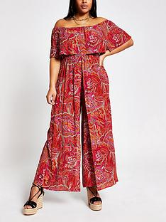 ri-plus-paisley-bardot-jumpsuitnbsp--red