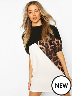 boohoo-boohoonbspleopard-colour-block-t-shirt-dress-black