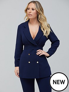 kate-ferdinand-longline-belted-blazer-navy