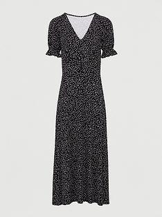v-by-very-button-front-seam-midi-dress-black-polka-dot