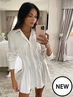 michelle-keegan-linen-pleat-front-shirt-dress-white