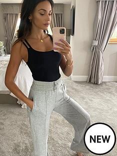 michelle-keegan-deep-waistband-wide-leg-jogger-grey-marl