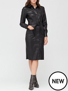 v-by-very-faux-leather-midi-belted-shirt-dress-black