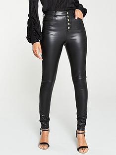 v-by-very-faux-leather-button-front-skinny-trousers-black