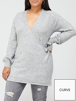 v-by-very-curve-wrap-knitted-jumper-grey