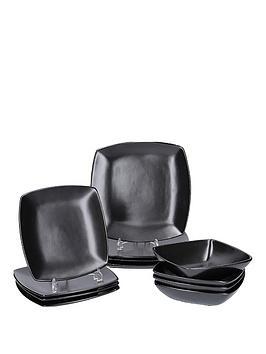 creative-tops-raven-12-piece-black-stoneware-square-dinner-set