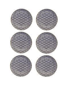 kitchencraft-mikasa-satori-living-gold-seigaiha-wave-side-plates-set-of-6