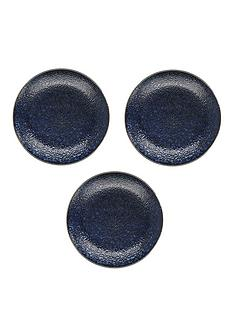 kitchencraft-mikasa-satori-living-gold-indigo-blue-dinner-plates-ndash-set-of-3nbsp