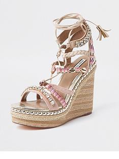 river-island-embellished-lace-up-platform-wedge-sandals-pink