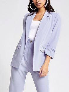 ri-petite-ruched-sleeve-blazer-light-blue