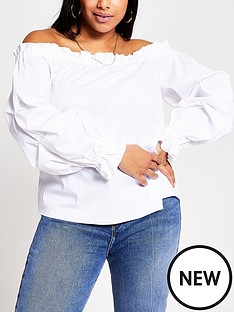 ri-plus-poplin-bardot-top-white