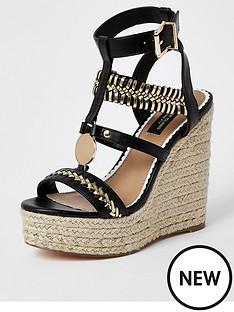 river-island-wide-fit-stitch-detail-platform-wedge-sandals-black