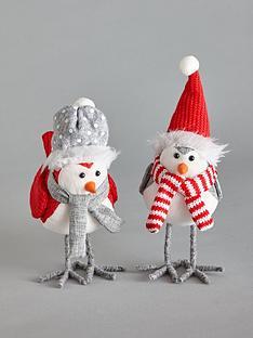 set-ofnbsp2-greyred-plush-robin-christmasnbspdecorations