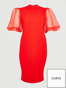 ax-paris-curve-v-neck-organza-puff-sleeve-bodycon-dress-red