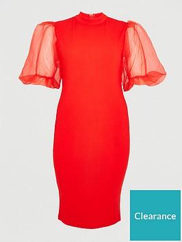 ax-paris-curve-v-neck-organza-puff-sleeve-bodycon-dress-red