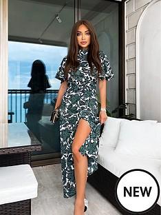 ax-paris-green-tropical-slit-front-dress
