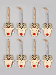 gisela-graham-set-of-8-reindeer-head-christmas-tree-decorations