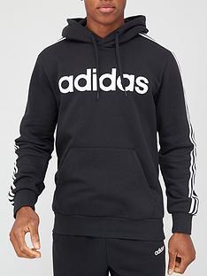 adidas-essential-3-stripe-hoodie-black