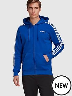 adidas-essential-3-stripe-full-zip-hoodie-bluenbsp
