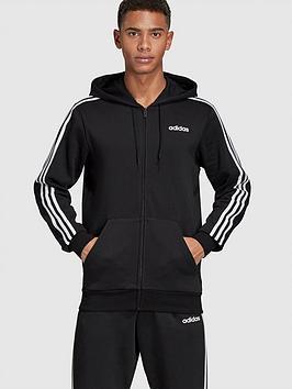 adidas-essential-3-stripe-full-zip-hoodie-black