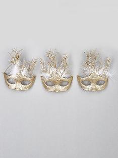 set-of-3-masquerade-hanging-christmas-tree-decorations-ndash-gold
