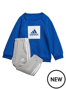 adidas-infants-three-stripe-logo-sweat-and-jogger-set-blue