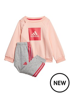 adidas-infants-threenbspstripe-logo-sweat-andnbspjogger-set-coral