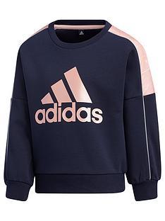 adidas-girls-lightweight-knitted-crew-neck-top-navy