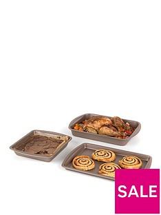 salter-carbon-steel-matte-metallic-non-stick-26nbspcm-rectangular-baking-pan-38nbspcm-roasting-tray-and-38cm-baking-tray