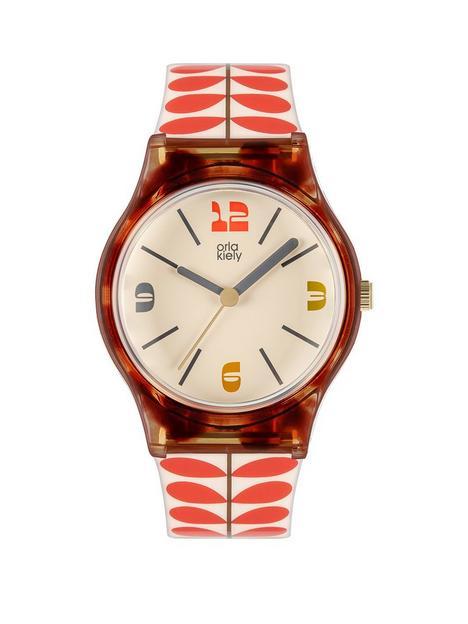 orla-kiely-orla-kiely-bobby-tortoise-shell-case-white-and-red-stem-print-strap-watch