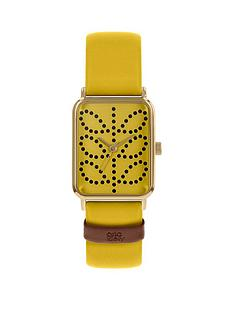 prod1089474295: Orla Kiely Yellow Stem Print Tank Dial Yellow Leather Strap Watch