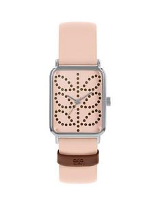 prod1089474304: Orla Kiely Pink Stem Print Tank Dial Pink Leather Strap Watch
