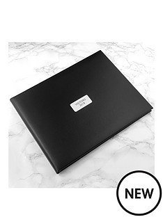 personalised-black-leather-visitors-book