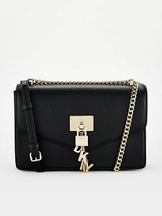 dkny-elissa-large-flap-shoulder-bag-black