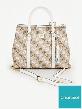 dkny-aalta-coated-logo-satchel-shoulder-bag-greywhite