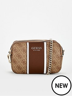 guess-cathleen-four-g-print-sports-stripe-cross-body-bag-brown