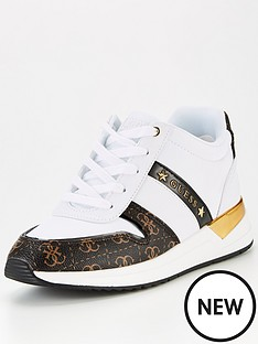 guess-ravyn-colour-block-four-g-print-trainers-white