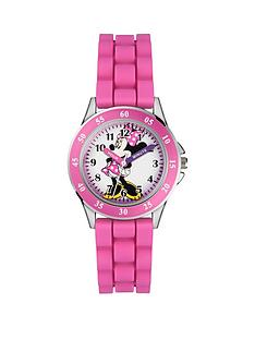 prod1089474308: Minnie Mouse Time Teacher Dial Pink Silicone Strap Kids Watch