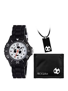 tikkers-tikkers-football-dial-black-silicone-strap-watch-with-wallet-and-dogtag-pendant-kids-gift-set