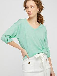 monsoon-tilly-tab-sleeve-linen-blend-jumper-green