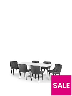 prod1089395836: Set Of Como Table & 6 Luxe Grey Chairs